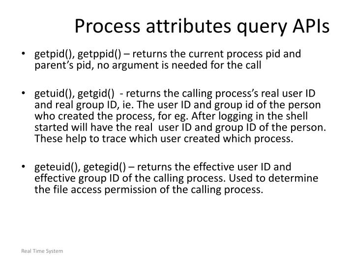 Process attributes query APIs