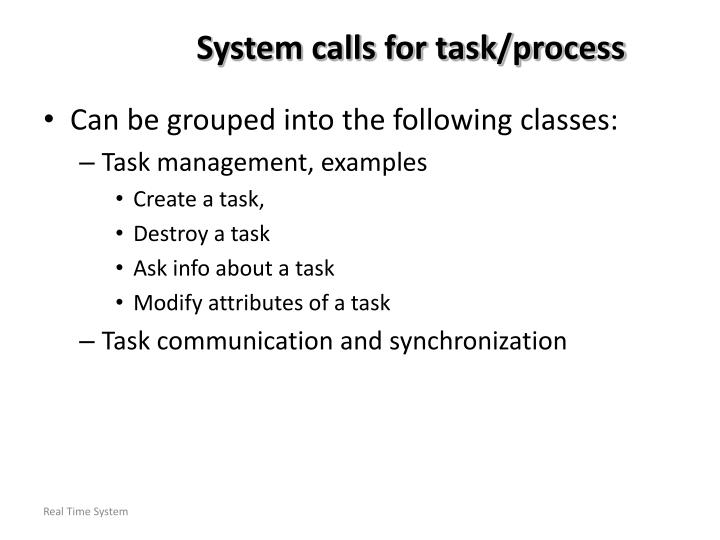 System calls for task/process