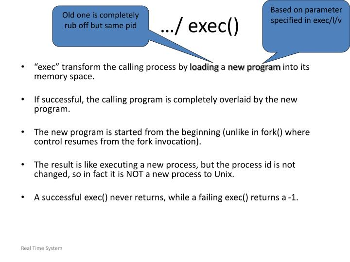 Based on parameter specified in exec/l/v