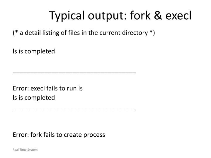 Typical output: fork & execl