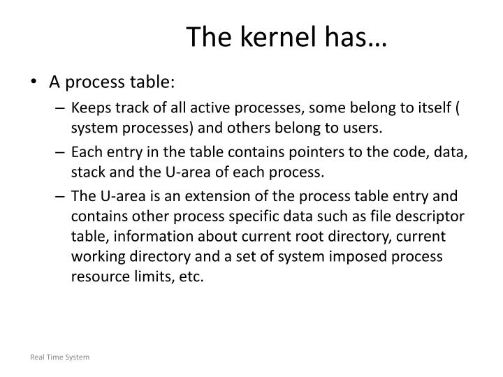The kernel has…
