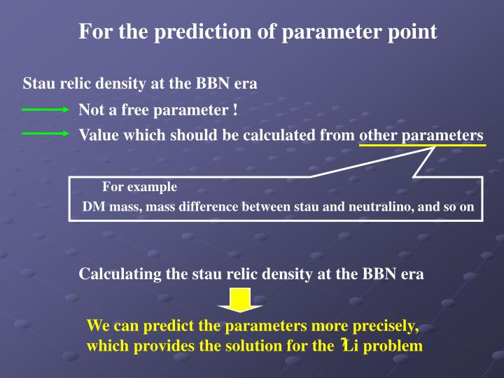 For the prediction of parameter point