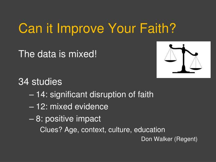 Can it Improve Your Faith?