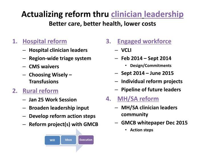 Actualizing reform thru