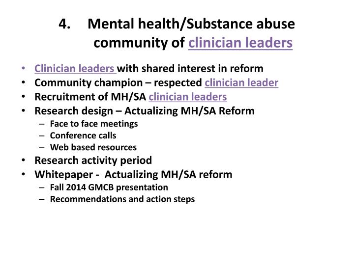 Mental health/Substance abuse