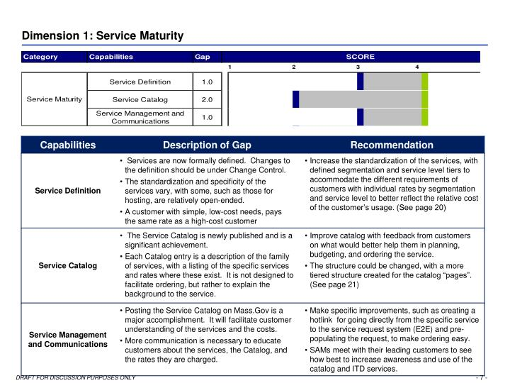 Dimension 1: Service Maturity