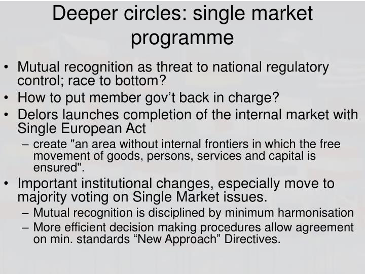 Deeper circles: single market programme