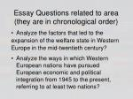 essay questions related to area they are in chronological order