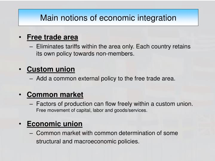 Main notions of economic integration