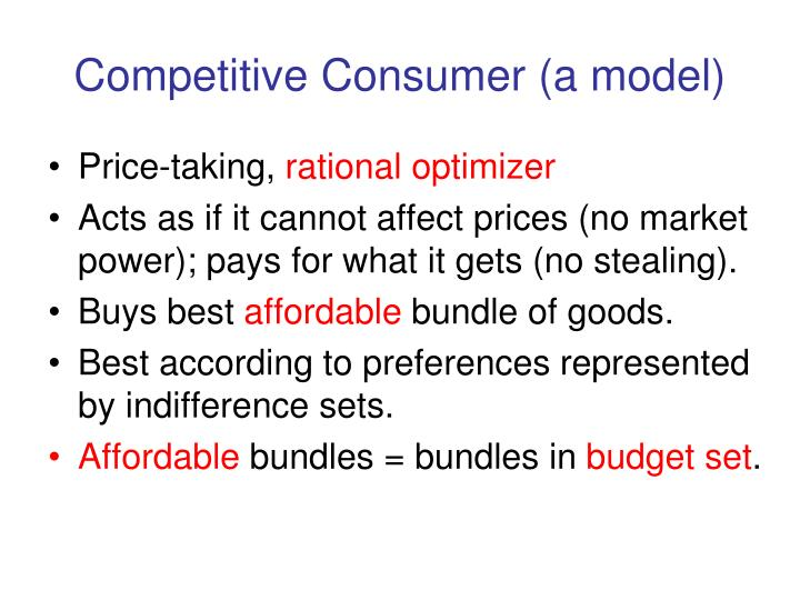 Competitive consumer a model