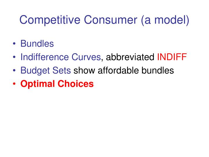 Competitive Consumer (a model)