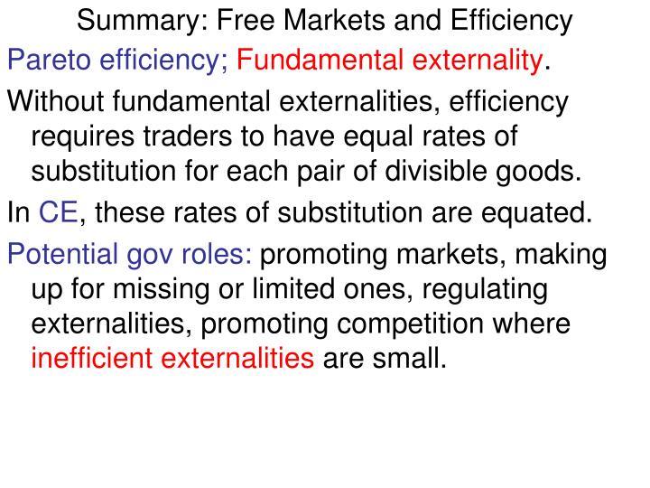 Summary: Free Markets and Efficiency