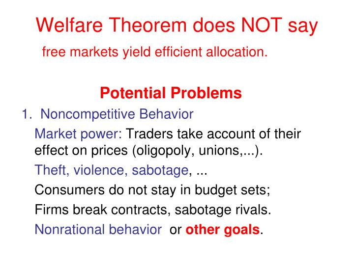 Welfare Theorem does NOT say