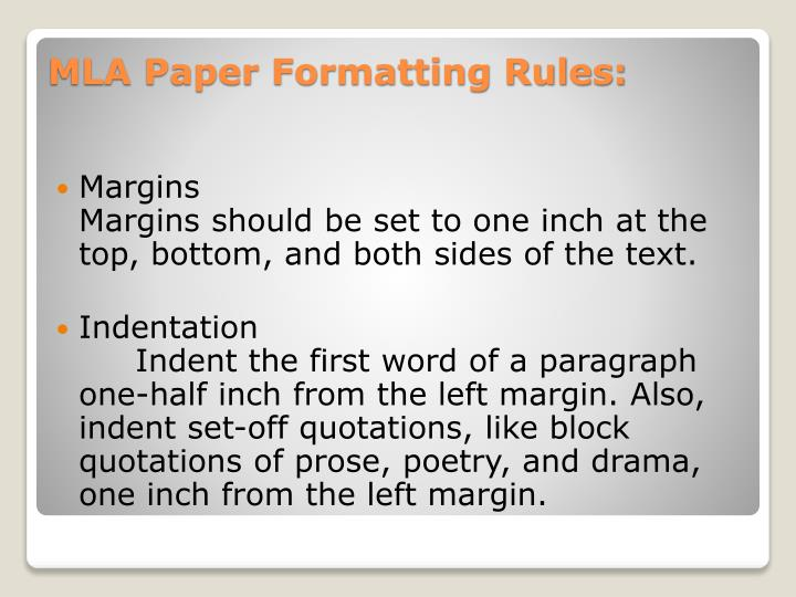 Mla paper formatting rules