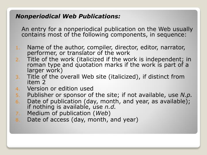 Nonperiodical Web Publications: