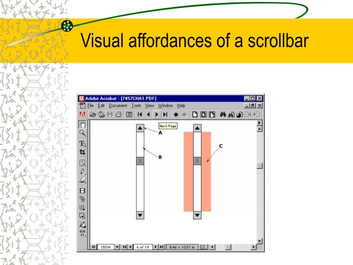 Visual affordances of a scrollbar