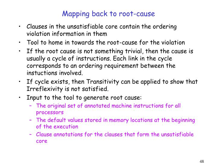 Mapping back to root-cause