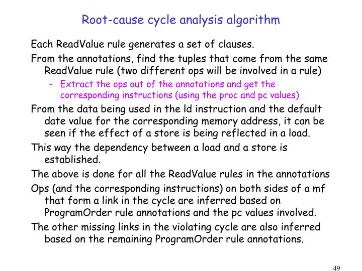 Root-cause cycle analysis algorithm