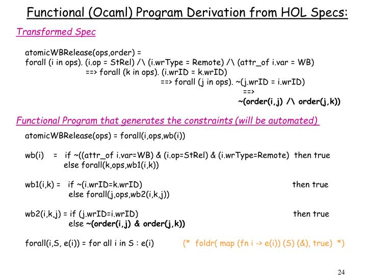 Functional (Ocaml) Program Derivation from HOL Specs: