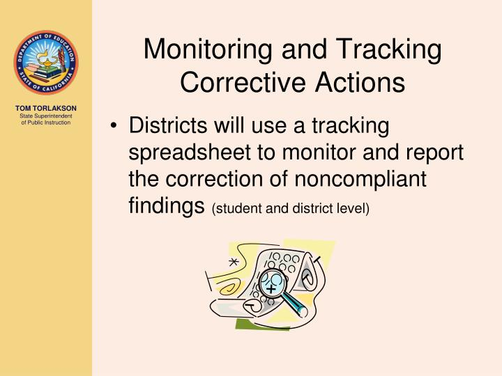 Monitoring and Tracking Corrective Actions