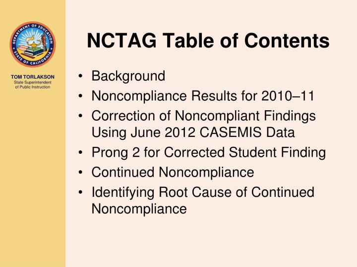 NCTAG Table of Contents