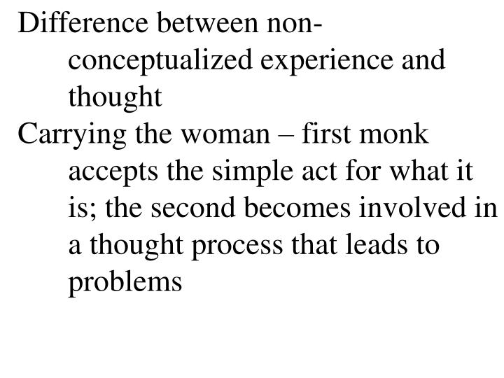 Difference between non-	conceptualized experience and 	thought