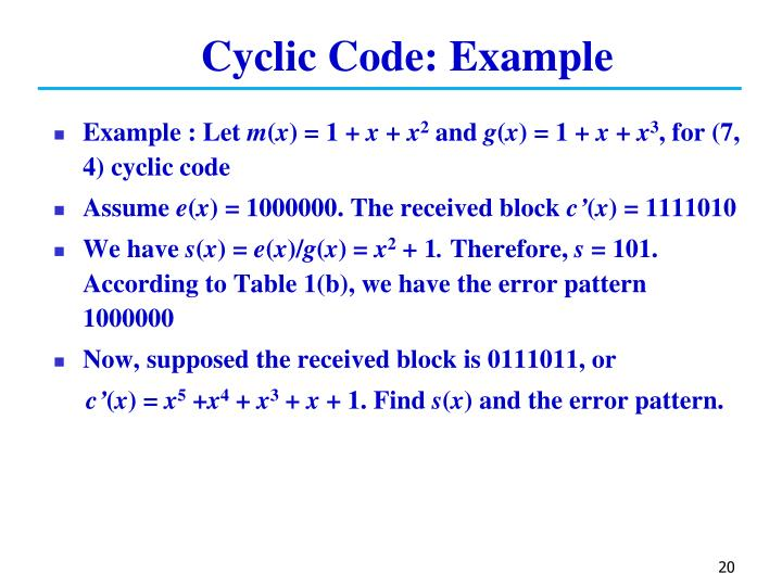 Cyclic Code: Example