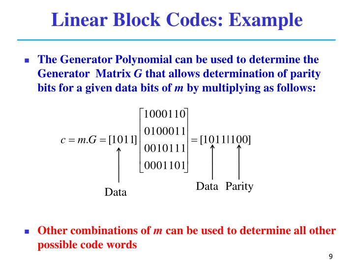 Linear Block Codes: Example