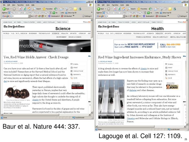 Baur et al. Nature 444: 337.