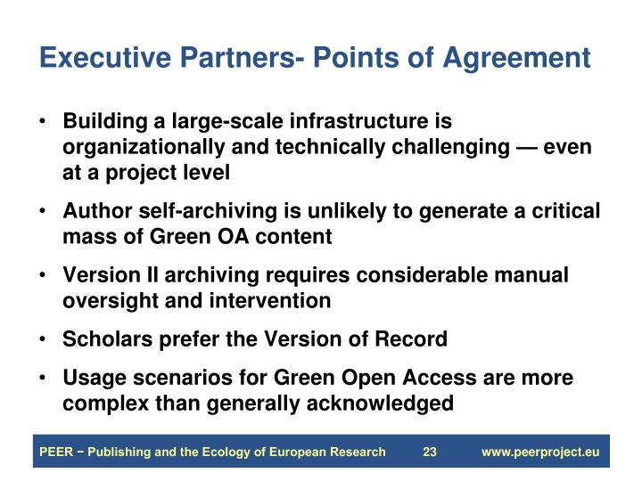 Executive Partners- Points of Agreement