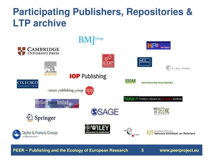Participating Publishers, Repositories & LTP archive