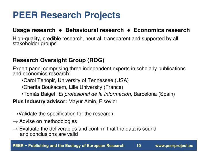 PEER Research Projects