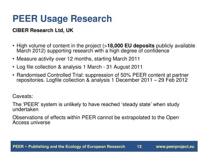 PEER Usage Research