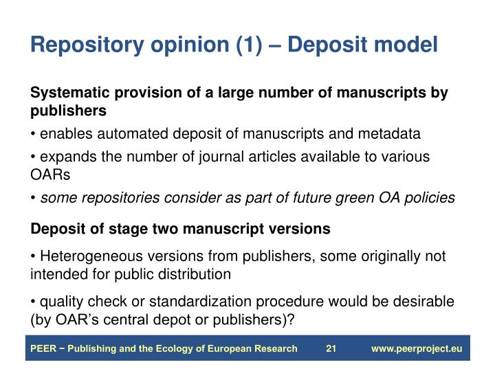 Repository opinion (1) – Deposit model