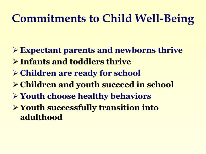 Commitments to Child Well-Being