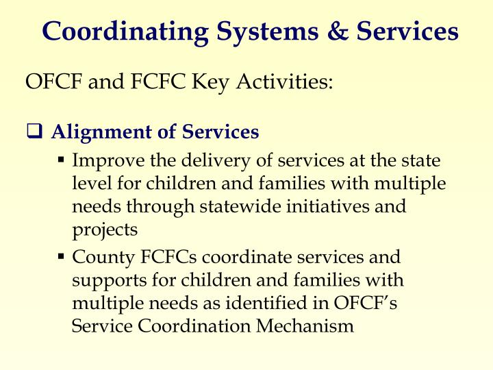 Coordinating Systems & Services