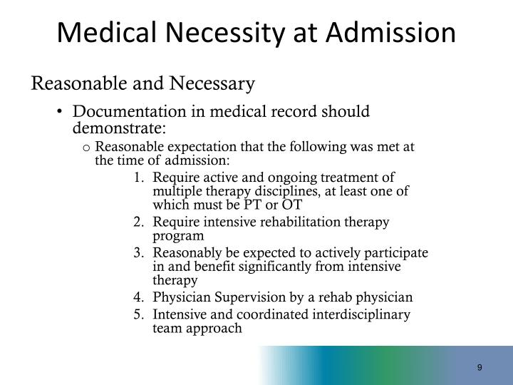 Medical Necessity at Admission