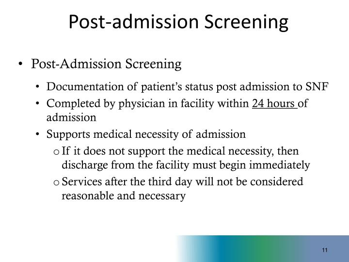 Post-admission Screening