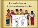 remediation for breakdowns in comprehension