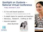 spotlight on dyslexia national virtual conference friday december 5 2014