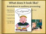 what does it look like breakdown in auditory processing