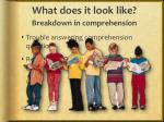 what does it look like breakdown in comprehension