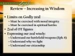 review increasing in wisdom
