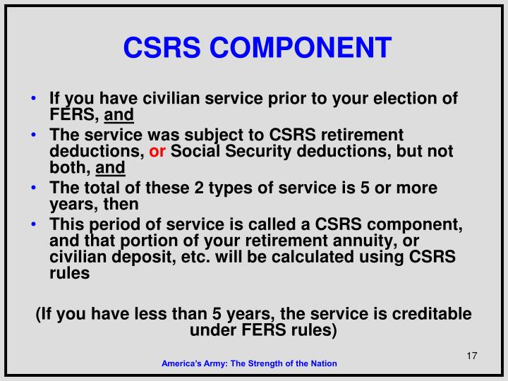 CSRS COMPONENT