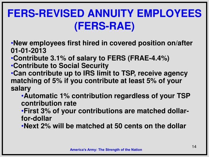 FERS-REVISED ANNUITY EMPLOYEES (FERS-RAE)