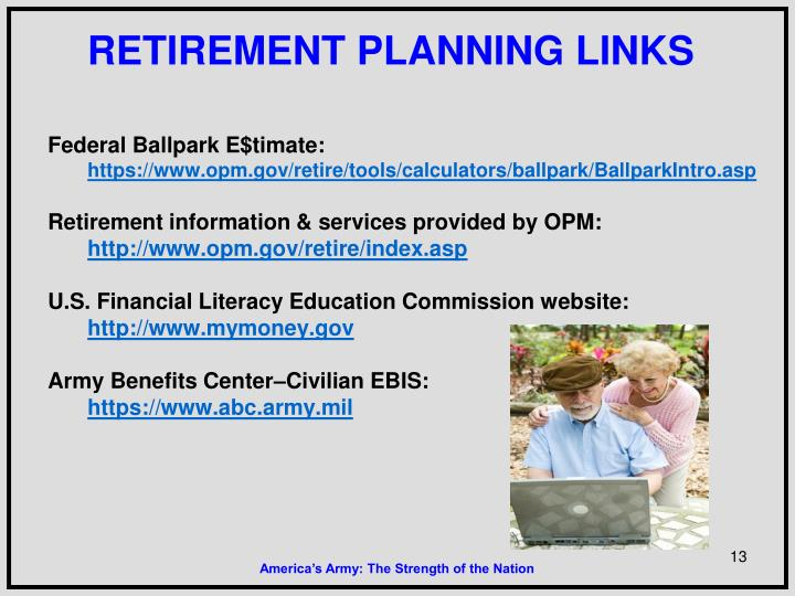 RETIREMENT PLANNING LINKS