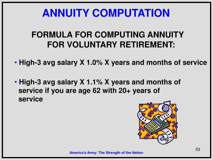 ANNUITY COMPUTATION