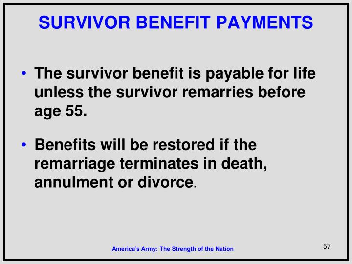 SURVIVOR BENEFIT PAYMENTS