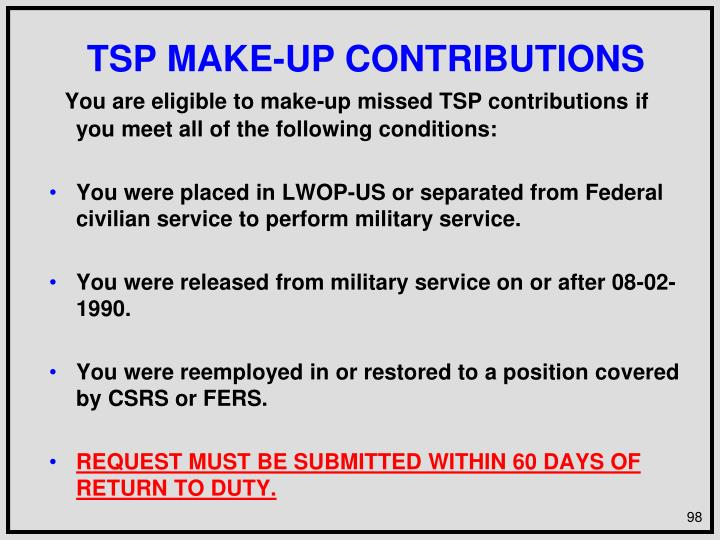 TSP MAKE-UP CONTRIBUTIONS