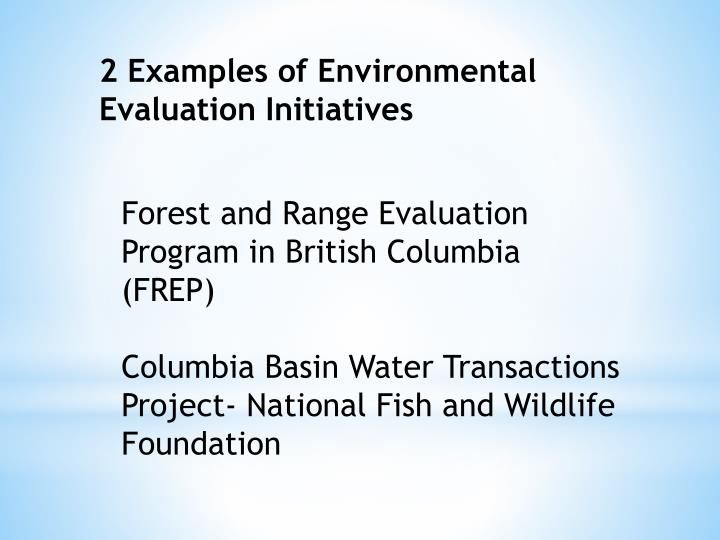 2 Examples of Environmental Evaluation Initiatives